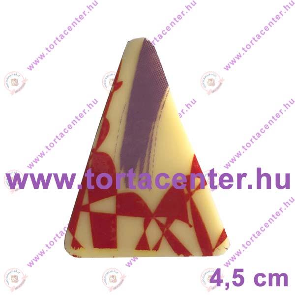 Absztrakt mintás fehércsokoládé dísz - háromszög (9 db)