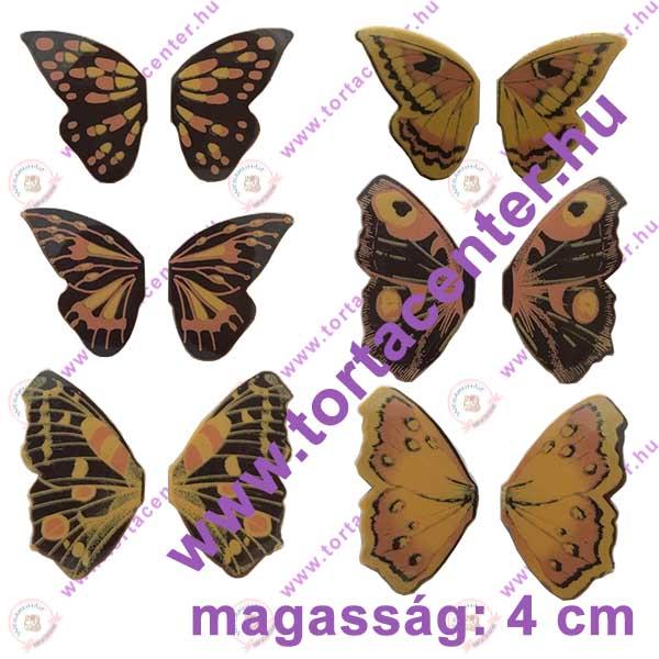 Pillangószárnyak étcsokoládé dísz (6 pár, vegyes mintával)