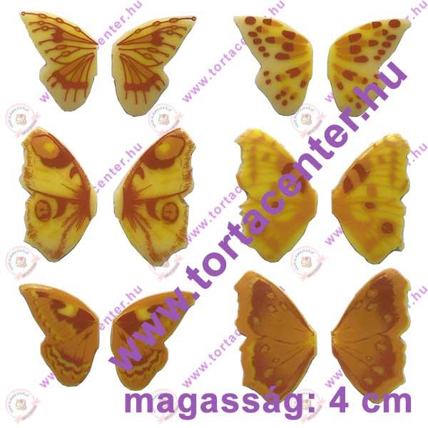 Pillangószárnyak fehér csokoládé dísz (6 pár, vegyes mintával)