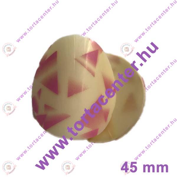 Hajlított fehér csokoládé dísz (pink háromszöges, 16 db)