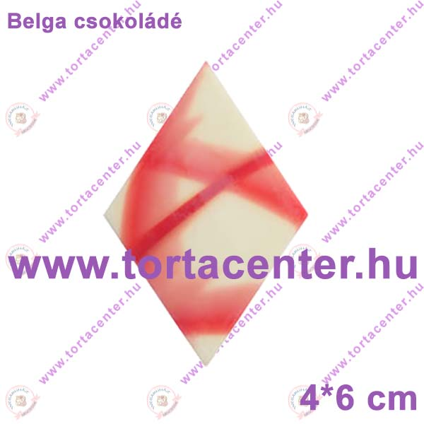 Jura rombusz csokoládé dísz (piros-fehér, 24 db)