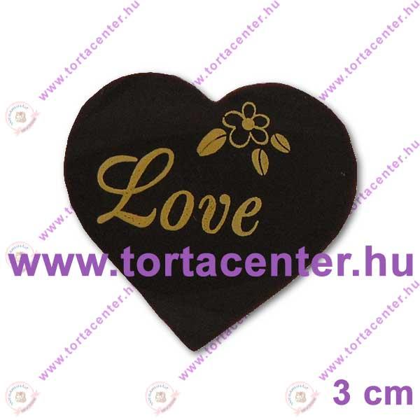Szív étcsokoládé tábla (Love, 20 db)