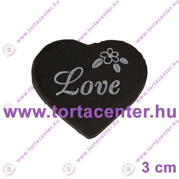 Szív étcsokoládé tábla (Love, fehér felirat, 20 db)