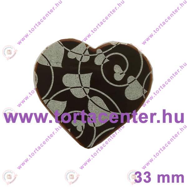 Szív étcsokoládé tábla (fehér vonalas szív, 20 db)