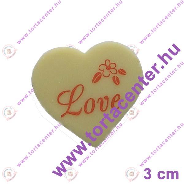 Szív fehércsokoládé tábla (Love, 20 db)