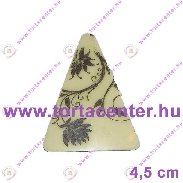 Virág mintás fehércsokoládé dísz - háromszög (15 db)